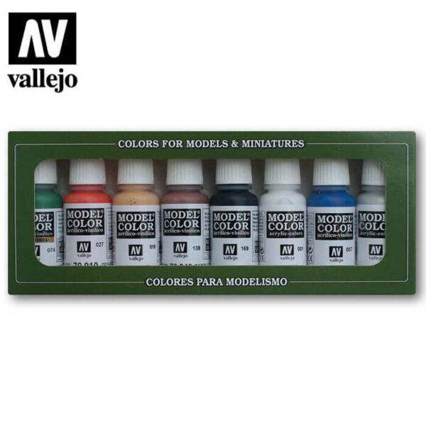 acrylicos vallejo AV70103 Wargames Basics El juego incluye 8 colores básicos acrílicos Model Color de 17 ml. para pintar maquetas, figuras y dioramas. Incluye una carta de colores.