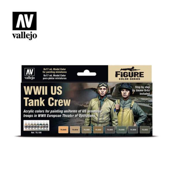acrylicos vallejo AV70186 WWII US Tank Crew Set de 8 pinturas acrílicas de la gama Model Color. El set contiene los colores necesarios para pintar el mono HBT (Herring Bone Twill) y los pantalones de invierno de las tropas acorazadas americanas.