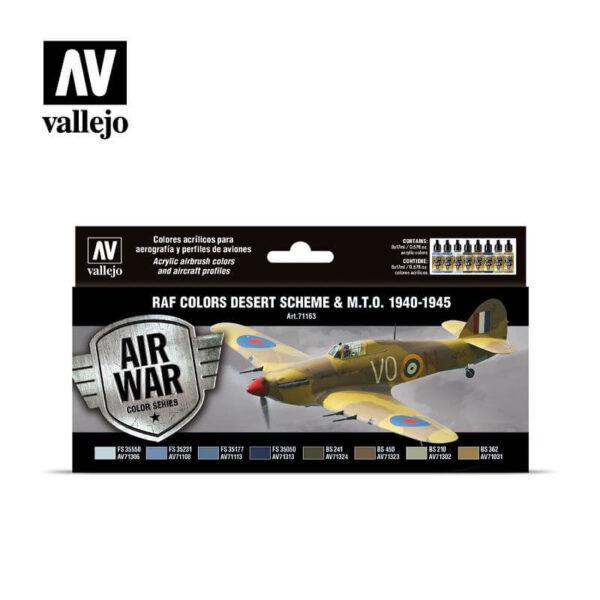 acrylicos vallejo av71163 RAF colors Desert Scheme & M.T.O. 1940-1945 Set de 8 colores Model Air 17ml para aerografía.