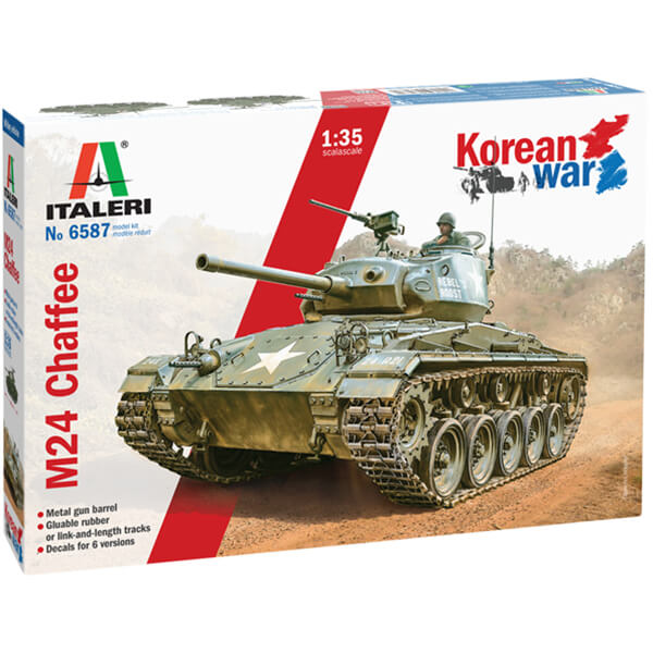 italeri 6587 M24 Chaffee Korean War 1/35 Kit en plástico para montar y pintar. Incluye cañón torneado en metal
