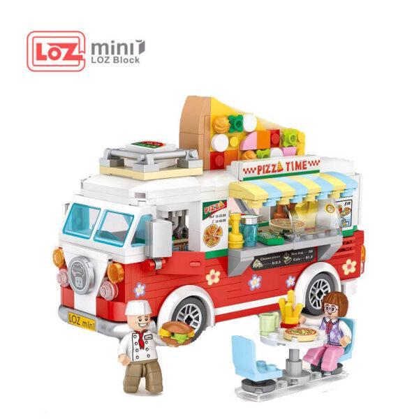 Loz Mini 1739 Food Truck Pizza Time 491 pcs Diviertete mientras montas tu propia furgoneta heladería. Construye y colecciona con los bloques de Loz, tus vehículos favoritos.