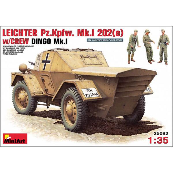 miniart 35082 LEICHTER Pz.kpfw. 202(e) w/CREW 1/35 DINGO Mk.I Kit en plástico para montar y pintar. Incluye piezas en fotograbado y 3 figuras