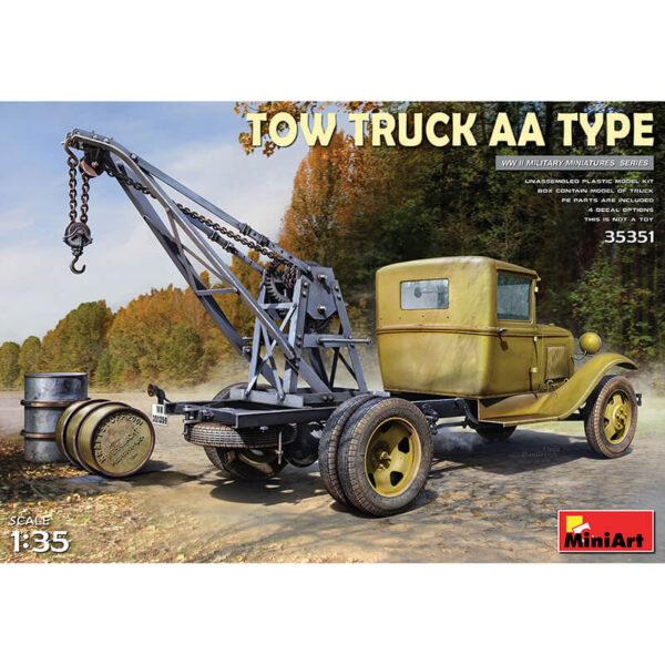 miniart 35351 Tow Truck AA Type Kit en plástico para montar y pintar, incluye fotograbado. Compartimento de motor, transmisión, dirección y freno muy detallados.