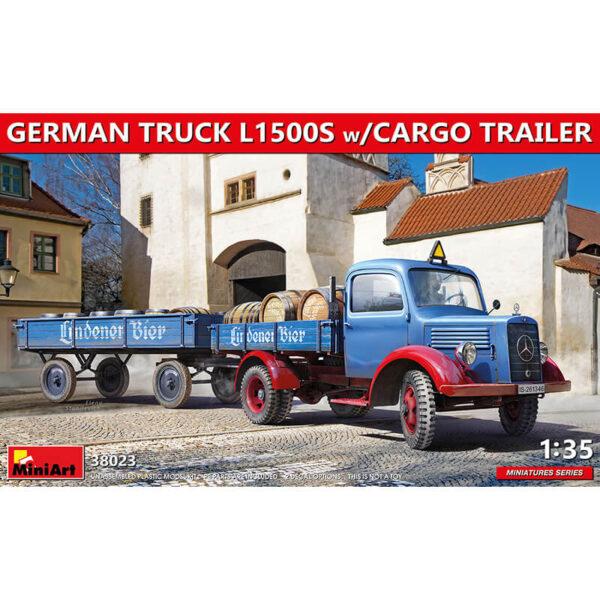 miniart 38023 German Truck L1500S w/Cargo Trailer 1/35 Kit en plástico para montar y pintar. Incluye piezas en fotograbado.