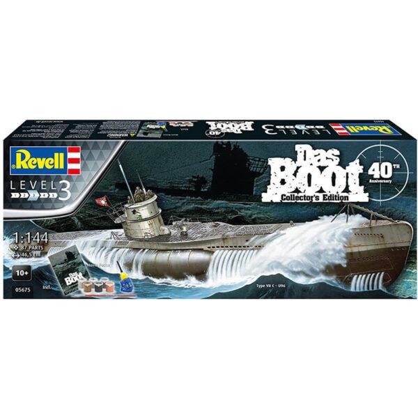 revell 05675 U-Boot Type VII C Das Boot 40th Aniversary 1/144 Edición Coleccionista Kit en plástico para montar y pintar. Incluye pegamento, pinturas, pincel y un poster conmemorativo del 40º Aniversario de la película Das Boot.