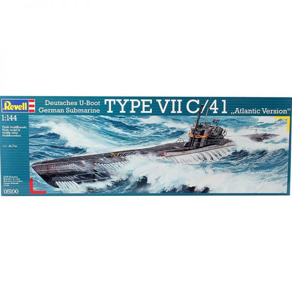 revell 05100 Deutsches U-Boot Type VII C/41 Atlantic Version Kit en plástico para montar y pintar. Hoja de calcas con 4 decoraciones.