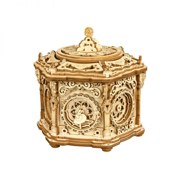 robotime rokr AMK52 Secret Garden Caja de música Kit en madera para montar esta preciosa caja de música con un compartimento secreto de 315 piezas. Su diseño esta inspirado en la arquitectura de las capillas del renacimiento.