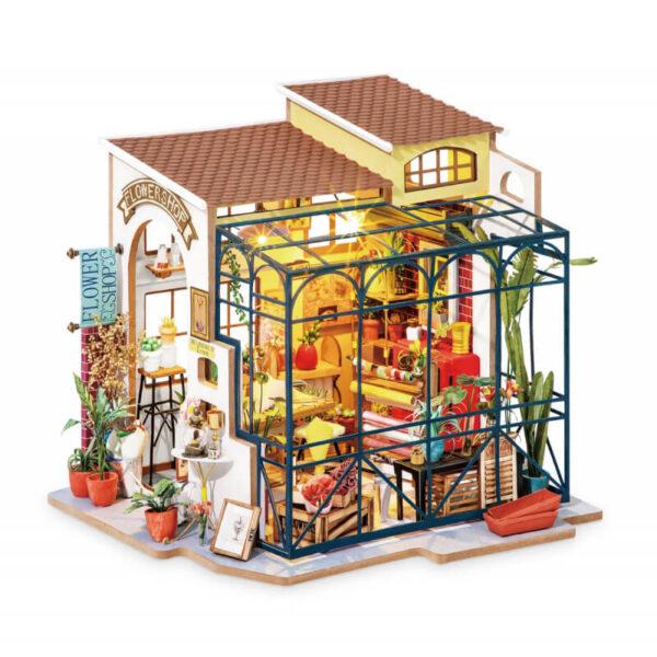 robotime rolife DG145 Happy Corner: Emily´s Flower Shop Las maquetas ROBOTIME son casas en miniatura que recrean con increíble detalle lugares de la vida diaria, a escala 1:24