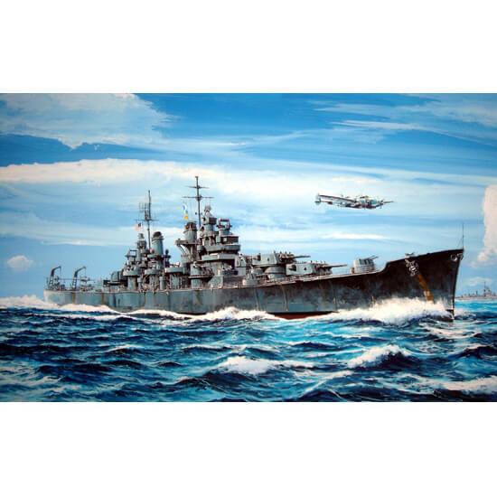 trumpeter 05724 USS BALTIMORE CA-68 1943 1/700 Kit en plástico para montar y pintar. Permite la opción de exponerlo con el casco completo o por la línea de flotación (Waterline).