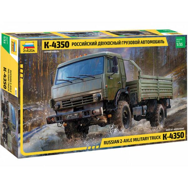 zvezda 3692 Russian 2-Axle Military Truck K-4350 1/35 Kit en plástico para montar y pintar. Hoja de calcas con 4 decoraciones para vehículos rusos.