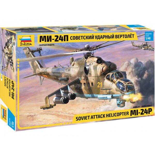 zvezda 4812 Soviet Attack Helicopter MI-24P Hind P 1/48 Kit en plástico para montar y pintar. Hoja de calcas con 5 decoraciones.