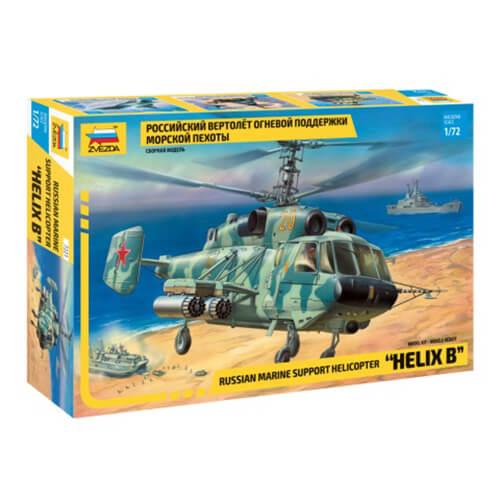 """zvezda 7221 Russian marine support helicopter """"Helix B"""" 1/72 Kit en plástico para montar y pintar. Hoja de calcas con 2 decoraciones."""