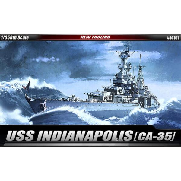 academy 14107 USS Indianapolis CA-35 1/350 Kit en plástico para montar y pintar. Reproduce con precisión los detalles del USS Indianapolis CA-35 en su versión de 1945.