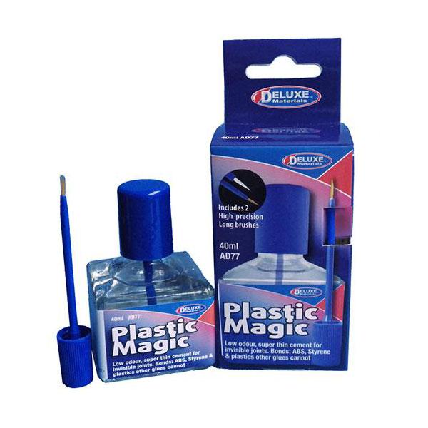 Deluxe Materials ad77 Plastic Magic Glue - Adhesivo de poliestireno 40ml Adhesivo tipo fluido para poliestireno y ABS de secado rápido. Penetra por capilaridad y no deja residuos.