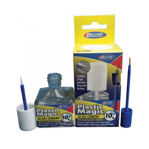 Deluxe Materials AD83 Plastic Magic 10s Glue - Adhesivo de poliestireno 40ml Adhesivo tipo fluido para poliestireno y ABS de secado ultrarrápido. Penetra por capilaridad y no deja residuos
