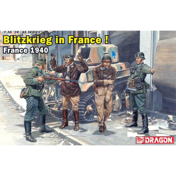 dragon 6478 Blitzkrieg in France! Kit en plástico para montar y pintar. Incluye 4 figuras 2 de infantería alemana y 2 carristas franceses.