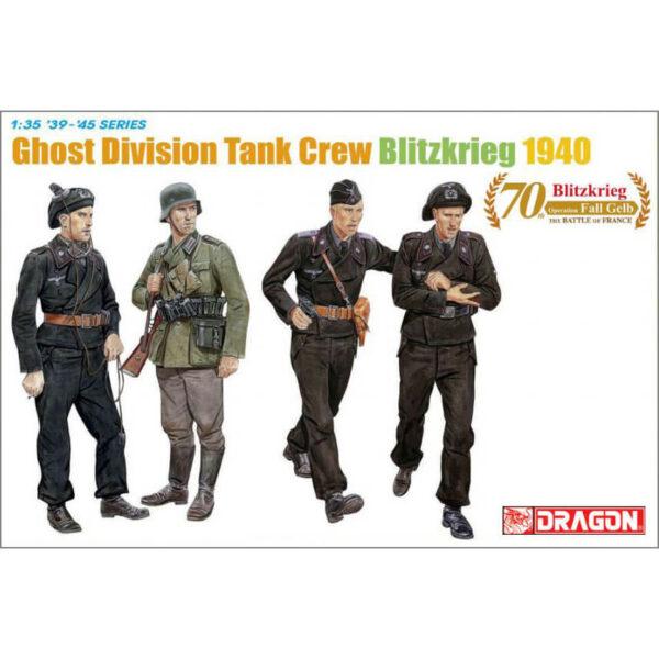 dragon 6654 Ghost Division Tank Crew (Blitzkrieg 1940) Kit en plástico para montar y pintar. Incluye 4 figuras de la 7.ª División Panzer (Wehrmacht).