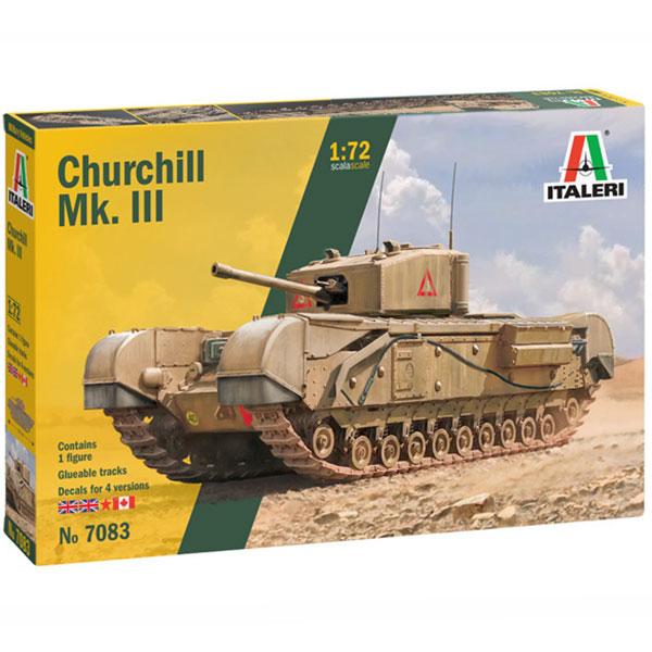 italeri 7083 Churchill Mk.III Kit en plástico para montar y pintar. Hoja de calcas con 4 decoraciones: Inglaterra, Canada y Rusia