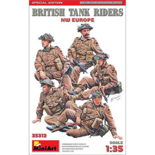 miniart 35312 British Tank Riders NW Europe WWII Military Miniatures Series Kit en plástico para montar y pintar. Incluye cinco figuras de infantería británica sobre un tanque durante la 2ªGM. Escala 1/35
