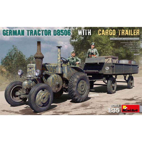 miniart 35317 German Tractor D8506 with Cargo Trailer Kit en plástico para montar y pintar. Incluye piezas en fotograbado y calcas. Contenido: Tractor, Trailer, 2 Figuras, 4 Bidones de combustible y 3 cajas de madera.