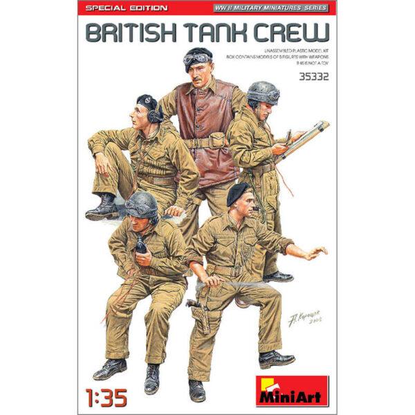 miniart 35332 British Tank Crew WWII Military Miniatures Series Kit en plástico para montar y pintar. Incluye cinco figuras de tanquistas británicos durante la 2ªGM con equipo y armamento. Escala 1/35
