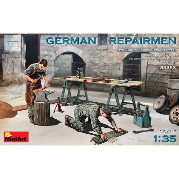 miniart 35353 German Repairmen WWII Military Miniatures Series Kit en plástico para montar y pintar. Incluye 2 figuras de mecánicos alemanes con herramientas y mesa de trabajo. Escala 1/35