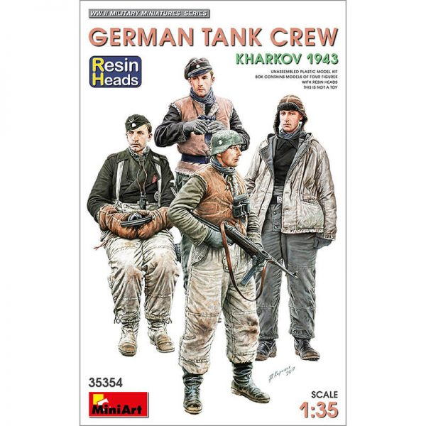 miniart 35354 German Tank Crew Kharkov 1943 WWII Military Miniatures Series Kit en plástico para montar y pintar. Incluye cuatro figuras de tripulantes de tanque alemanes durante la batalla de Kharkov. Bonus: cabezas en resina.