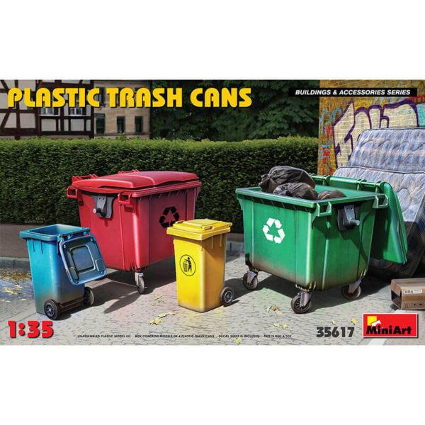 miniart 35617 Plastic Trash Cans Building & Accesories Series kit en plástico para montar y pintar. Contiene una selección de 4 contenedores de basura modernos. Escala 1/35