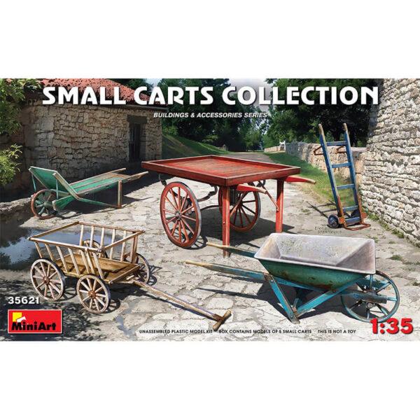 miniart 35621 Small Carts Collection Building & Accesories Series kit en plástico para montar y pintar. Contiene una selección de 5 carros y carretillas. Escala 1/35