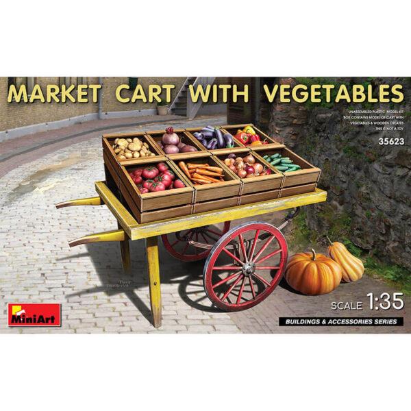 miniart 35623 Market Cart-with Vegetables Building & Accesories Series kit en plástico para montar y pintar. Contiene un carro, cajas de madera y verduras. Escala 1/35