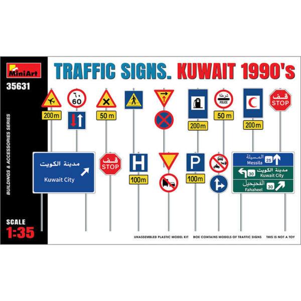 miniart 35631 Traffic Signs Kuwait 1990s Building & Accesories Series kit en plástico para montar y pintar. Incluye calcas y carteles impresos. Escala 1/35