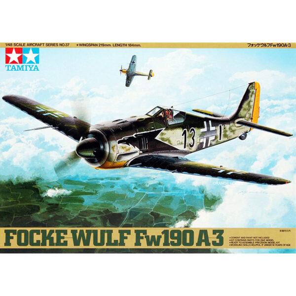 tamiya 61037 Focke Wulf FW 190A-3 Kit en plástico para montar y pintar. Incluye figura del piloto