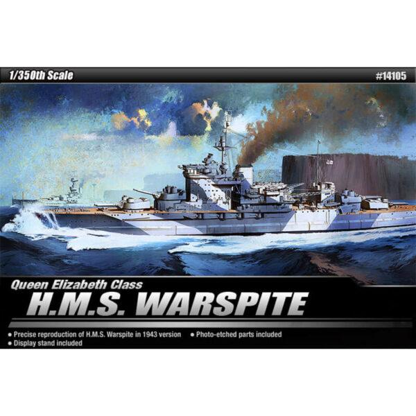 academy 14105 Queen Elizabeth Class H.M.S. Warspite Kit en plástico para montar y pintar la versión de 1943. Incluye piezas en fotograbado