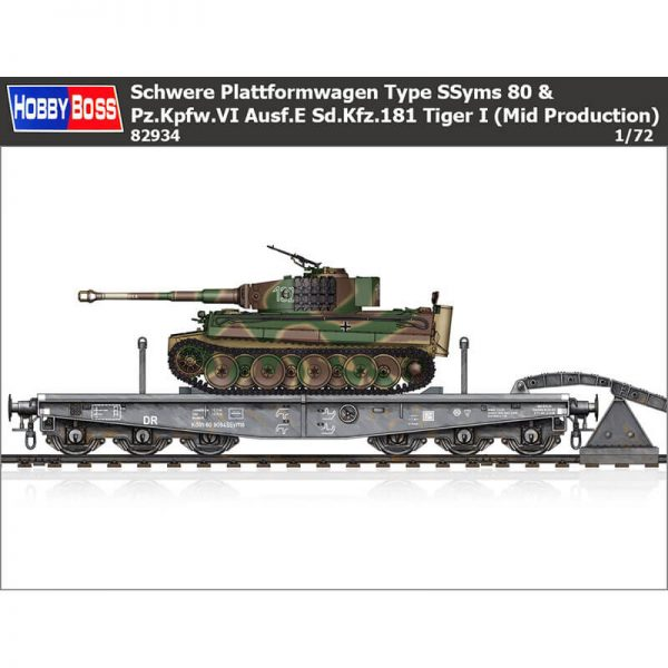 hobby boss 82934 Schwere Plattformwagen Type SSyms 80 & Pz.Kpfw.VI Ausf.E Sd.Kfz.181 Tiger I (Mid Production) Kit en plástico para montar y pintar una plataforma ferroviaria de transporte de carros pesados y un tanque Tiger I.