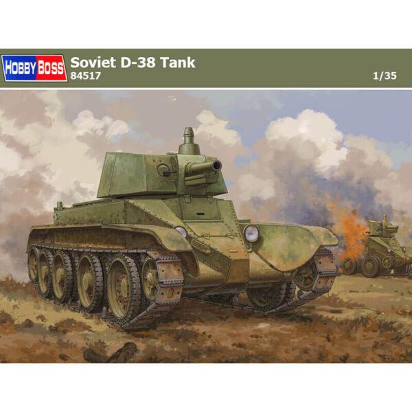 hobby boss 84517 Soviet D-38 Tank Kit en plástico para montar y pintar. Incluye piezas en fotograbado y cadenas por eslabones individuales.
