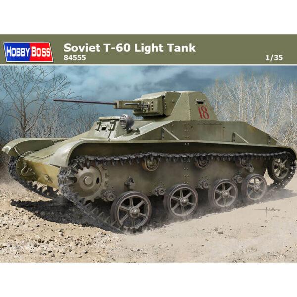 hobby boss 84555 Soviet T-60 Light Tank Kit en plástico para montar y pintar. Incluye piezas en fotograbado y cadenas por eslabones individuales.