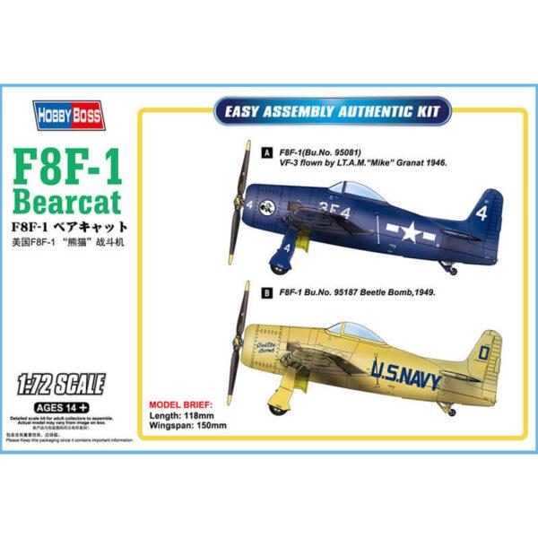 hobby boss 87267 Grumman F8F-1 Bearcat Kit en plástico para montar y pintar. Hoja de calca con 2 decoraciones US Navy