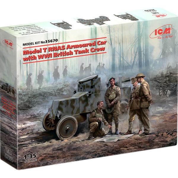 icm 35670 Model T RNAS with WWI British Tank Crew Armoured Car Kit en plástico para montar y pintar. Incluye 4 figuras.