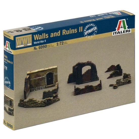 italeri 6090 Walls and Ruins II Kit en plástico para montar y pintar. Incluye ruinas, muros y trincheras de sacos.