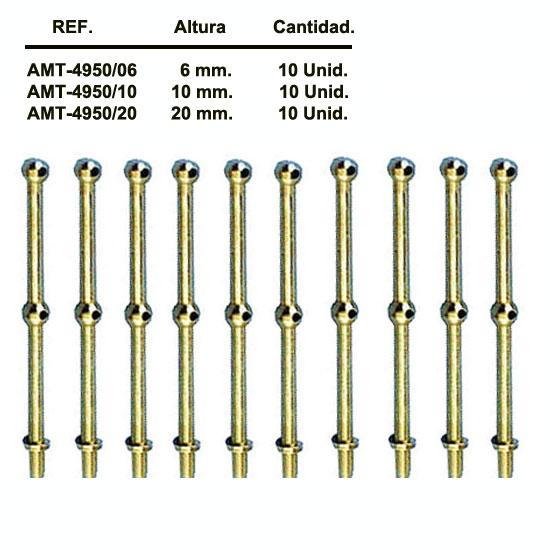 AMATI 4950 Candelero o puntal de dos orificios en latón torneado.
