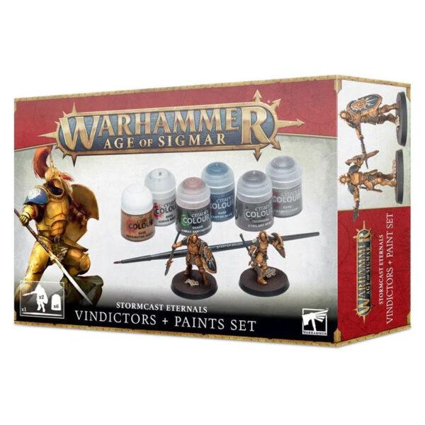 Set de Pinturas + Vindicadores de los Forjados en la Tormenta Intrépidos guerreros de los cónclaves Redentores, los Vindicadores son la muralla sobre la que se estrellan las fuerzas de la ruina.