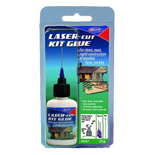 Deluxe Materials ad87 Laser-Cut Kit Glue 25gr Está diseñado específicamente para la construcción rápida de kits de corte por láser de madera y cartón.