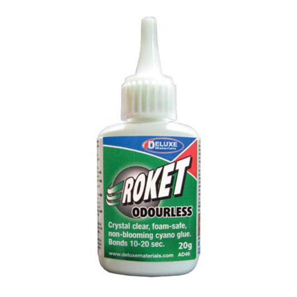 DELUXE materials ad46 Roket Odourless 20gr Cianocrilato Adhesivo de cianocrialato de densidad media prácticamente inodoro.