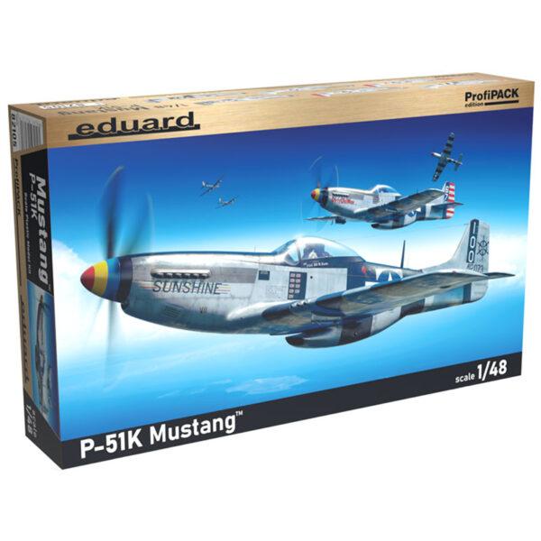 eduard 82105 1/48 P-51K Mustang profiPACK Kit en plástico para montar y pintar, incluye piezas en fotograbado y mascarillas. Hoja de calcas con 6 decoraciones