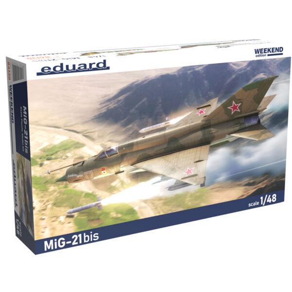 eduard 84130 1/48 MiG-21bis Weekend Edition Kit en plástico para montar y pintar. Hoja de calcas con 4 decoraciones:USSR, Finlandia, Croacia e India.