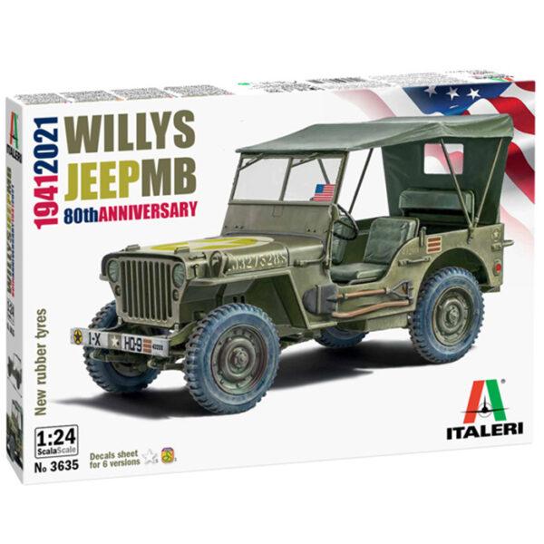 italeri 3635 Willys Jeep MB 80 aniversario 1941-2021 Kit en plástico para montar y pintar. Hoja de calcas con 6 decoraciones. Longitud 138mm.