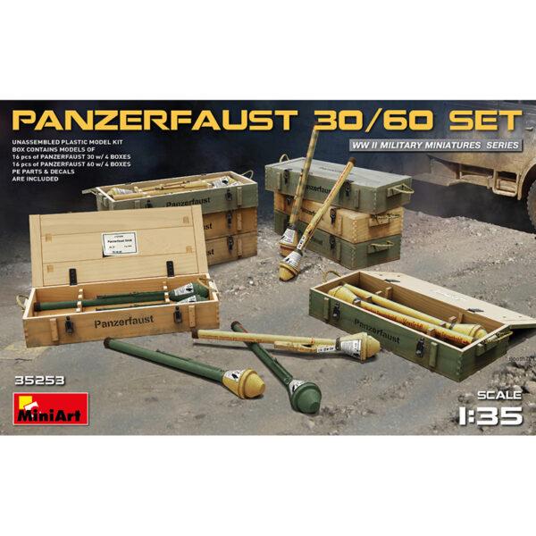 miniart 35253 1/35 Panzerfaust 30/60 Set Kit en plástico para montar y pintar, incluye fotograbados y calcas. 16 Panzerfaust 30 y 16 Panzerfaust 60 y las cajas de transporte correspondientes.