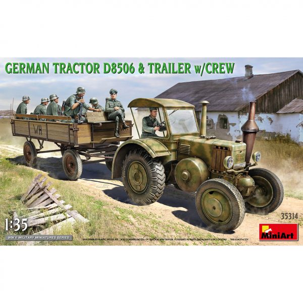miniart 35314 1/35 German Tractor D8506 & Trailer With Crew Kit en plástico para montar y pintar, incluye piezas en fotograbado. Figura del conductor y de 10 soldados alemanes. Hoja de calcas con 2 decoraciones.