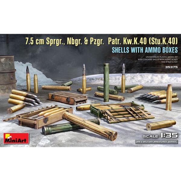 1/35 7,5cm Sprgr. Nbgr & Pzgr. Patr. Kw.k.40 (Stu.K 40) Shells with Ammo Boxes Kit en plástico para montar y pintar.