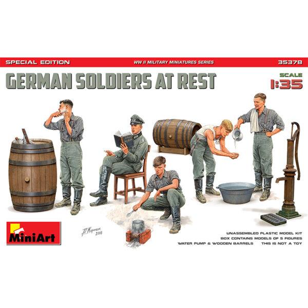 miniart 35378 1/35 German Soldiers at Rest Special Edition Kit en plástico para montar y pintar. Incluye 5 figuras de soldados alemanes en descanso y accesorios.